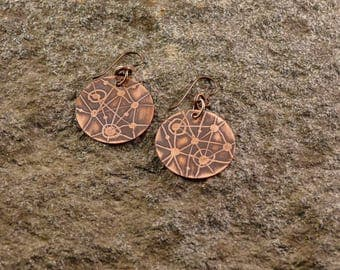 Constellations, etched disk earrings