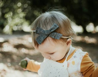 charcoal linen hair bow //large hand tied bow // baby girl toddler hair accessory // oversized hand tied bow // fall bow