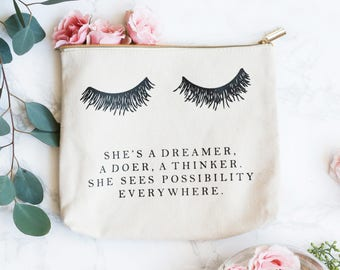 Eyelash She's A Dreamer Makeup Bag | Make Up Bag Toiletry Bag Travel Accessories Cosmetic Bag Zipper Pouch Canvas Bag Birthday Gift For Her