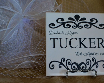 Custom Wedding Announcement Decorative Tile