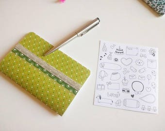 Small notebook green with pattern with spots flower strip organza silvery handmade + board of stickers