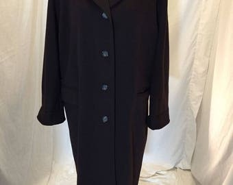 Vintage Calvin Klein Merino Wool Brown Trench Coat Overcoat ILGWU Union Tag Size 8