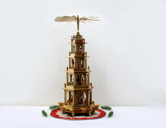 Original Erzgebirge table pyramid Christmas pyramid five floors DDR wood Christmas decoration