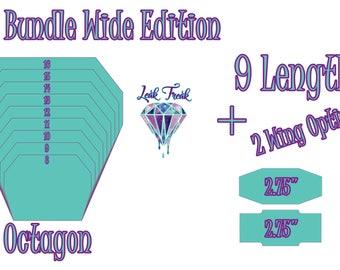 "Wide Octagon/Full Bundle/Cloth Pad Pattern/2.75"" Snapped Width/Leak Freak Compatible"