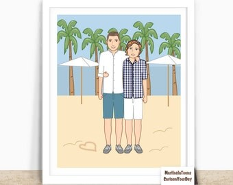Custom Gay Couple Portrait- Gay Art – Gay Marriage Gift – Gay Gifts - Valentines Day Gifts - Gay Anniversary-  Digital Printable