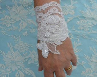 Ecru cuff lace beaded bridal ecru wedding beaded bracelet such manchonde embroidered ecru, ecru embroidered lace wedding
