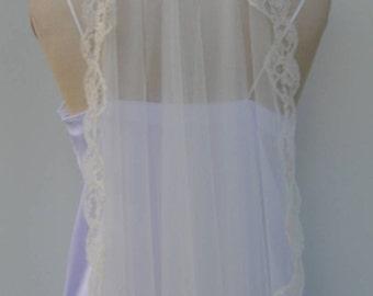 lace tulle veil, net long ivory lace, ivory tulle veil, lace tulle Bridal Veil, ivory long lace veil