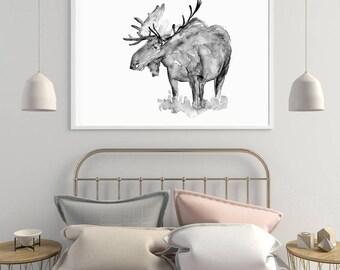 Moose Art - moose painting - print - black grey moose art - Moose illustration deer portrait - wall art moose animal painting  zen aquarelle