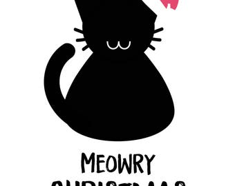 Meowry Christmas SVG File, Quote Cut File, Silhouette File, Cricut File, Vinyl Cut File 96, Stencil