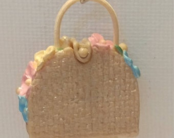 "1:12 Miniature ""Straw and Flower"" Purse"