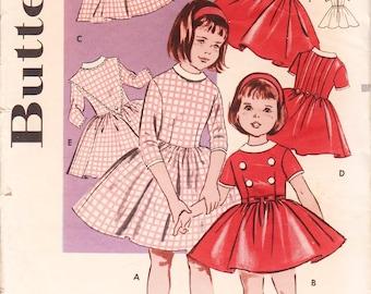 Girls Party Dress Vintage Girls Dress Pattern BUTTERICK 9159 Girls Size 3 Dress Pattern Girls Fit and Flare 1960s Girls Dress Toddler Dress