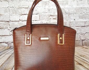 Brown Gator Dome Handbag, READY TO SHIP