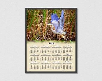 2018 Great Blue Heron Calendar - 12 Month Calendar - Audubon Society - Bird Calendar - Water Bird Calendar
