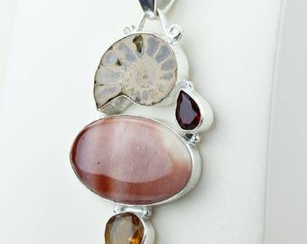 Imperial Jasper Ammonite Fossil Garnet 925 S0LID Sterling Silver Pendant + 4MM Snake Chain p4171