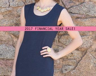 SALE Navy Bamboo Jersey Slip Dress. Australian Made. Perfect for Summer Beach Hangs, or Evening Nighty
