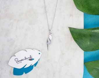 Parrot Origami Sterling Silver Long Necklace