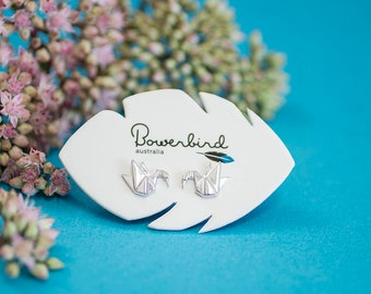 Swan Origami Sterling Silver Stud Earrings