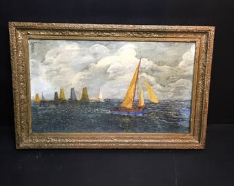 French oil painting on canvas, marine scene with sailing boats, cloudy and dark. Well painted. 1930s. Gilt frame.