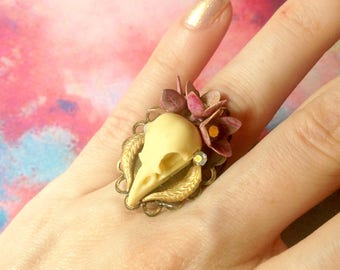Adjustable ring any size bird skull Crown with pink flowers