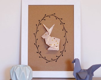 A4 print patterned graphic beige/gold rabbit origami - wall decor for nursery baby girl birth gift