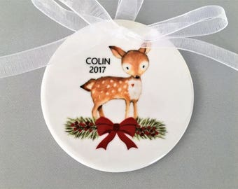 Deer Ornament, Boy Ornament, Baby Ornament, My First Christmas Ornament, Woodland Ornament, Gift for Baby, My First Christmas, Baby Gift
