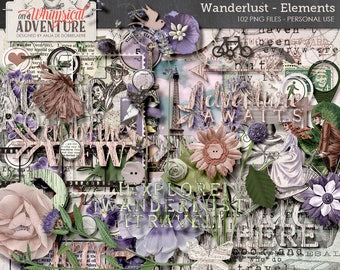 Wanderlust Clip Art, Instant Download, Digital Scrapbooking Elements, Mixed Travel Pack, Flowers, Wooden Words, Foliage, Vintage Ephemera