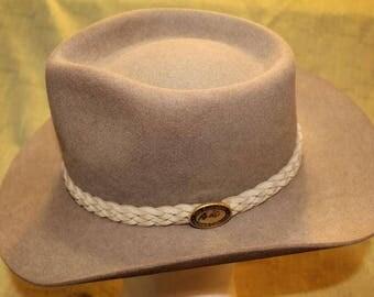Vintage Australian Outback Collection Jackeroo Taupe  Fur Felt  Western Men's Hat Braided Leather Hatband Size 57cm