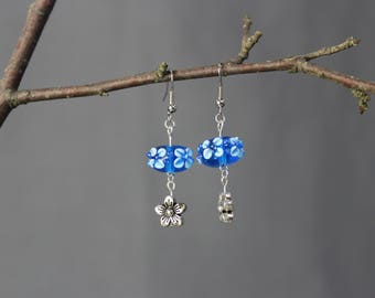 Flower Earrings, blue, dangle, hook, glass bead, charm