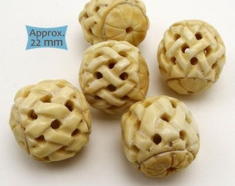 Large Bone Focal Bead Carved Basket Weave Pattern--1 Pc. | 37-BN1193-1