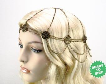 Maiden Wasila headchain, antique bronze circlet, renaissance headpiece, headchain, medieval headdress, renaissance head chain, boho(2892hch)