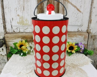 Insulated Bottle/Hamilton Jolly Jug thermos/Large Travel Drink Bottle/Insulated Jug/Ball Jar/Mod Red & White Polka Dot Metal/60's Vintage