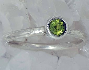 Hand Crafted Sterling Silver Ring, Bezel set with an August Birthstone