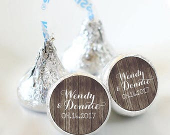 108 Rustic Wedding Hershey Kiss® Stickers - Names and Date Stickers  - Personalized Hershey Kiss Labels - Hershey Kiss Seals