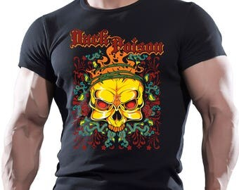 Dark Poison Skull. Men's black cotton t-shirt