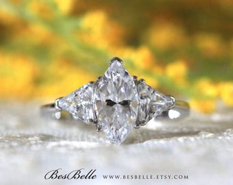 2.40 ct.tw Three Stones Engagement Ring-Marquise & Trillion Cut Diamond Simulant-Bridal Ring-Wedding Ring-Solid Sterling Silver [6914]