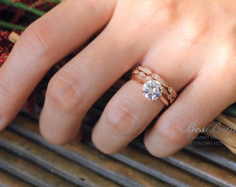 2.60 ct.tw Solitaire Engagement Ring W/ Vintage Art Deco 2-All Eternity Ring-Mix Stckable Set-Rose Gold Plated-Sterling Silver [61353RGM-3]