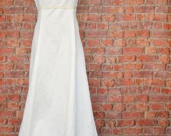 Genuine Vintage Wedding Dress Gown 90s Retro Victorian Edwardian Style Train UK 10...US 6