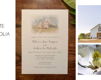 White Magnolia, Louisiana Rustic Barn Wedding Invitations DEPOSIT