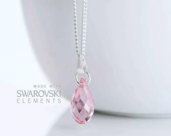 Pink SWAROVSKI Teardrop Necklace Sterling Silver Chain - Pink Swarovski Pendant Necklace - Swarovski Light Rose Crystal Pendant - GG3 - P13