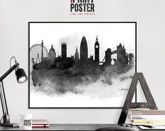 London wall art poster, London skyline art print, London black & white art, travel gift, wall decor, city prints, iPrintPoster