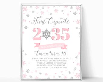Winter ONEderland Time Capsule Sign Pink And Silver Birthday Party Decor Snowflakes Winter Birthday Girl First Birthday PRINTABLE 8x10 5x7