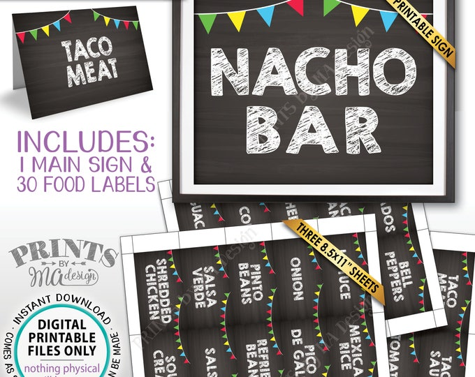 Nacho Bar Sign and Labels Build Your Own Nachos Station Mexican Food Labels Chalkboard Style PRINTABLE Sign/Labels Instant Download