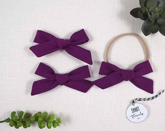 Bow Clip Pigtail Set or Headband | 'Iris' | purple | organic cotton | schoolgirl hair bows, baby, toddler girls