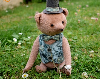 Theodore, artist teddy bear, collectible toy, handmade teddy bear, stuffed bear, soft toy, gift for everyone, art toy, collectible bear