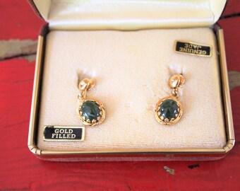 Jade Gold Filled Dangle Earrings
