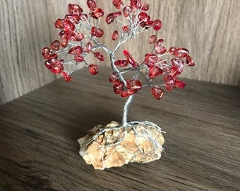 Mini Silver Copper Wire Tree with Red Stones/Beads, Gemstone Beaded Tree