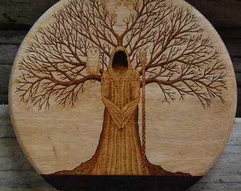 Druid Woodburning with Owl Tree and Moon