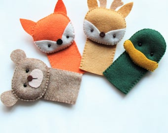 Woodland Animal Finger Puppets Set - Forest Animal Finger Puppets - Kids Felt Toys - Felt Finger Puppets For Children and Babies