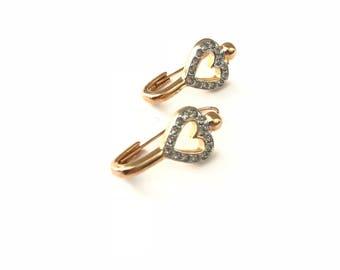 Vintage Safety Pin Style Rhinestone Open Heart Earrings