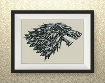 BUY 2, GET 1 FREE! Game of Thrones  Cross stitch pattern, pdf counted cross stitch pattern, Stark Sigil, Instant Download, #P057